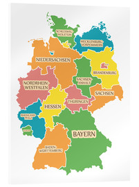 Acrylic print  Germany map with labels for learning children - Ingo Menhard