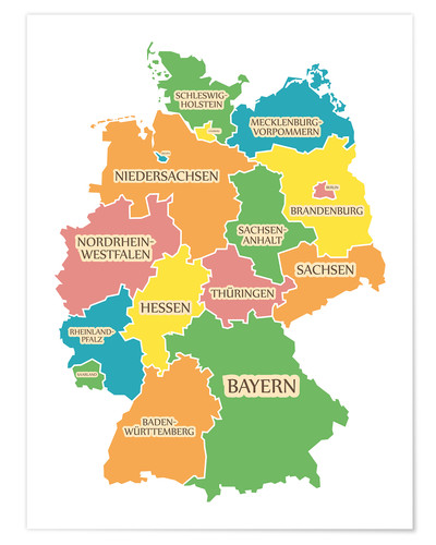 Premium poster Germany map with labels for learning children