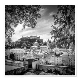 Premium poster SALZBURG Gorgeous Old Town with Citywall | Monochrome
