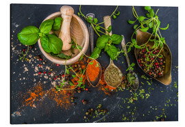 Aluminium print  Mortar with herbs and spice