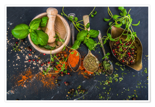 Premium poster Mortar with herbs and spice