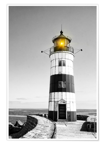 Premium poster Lighthouse with yellow light
