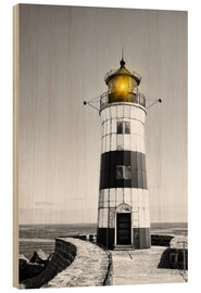 Wood print  Lighthouse with yellow light
