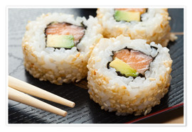 Premium poster  Sushi on wooden plate with chopsticks