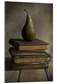 Acrylic print  Still life with books and pear - Jaroslaw Blaminsky