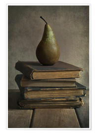 Premium poster Still life with books and pear
