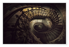 Premium poster Spiral staircase in brown
