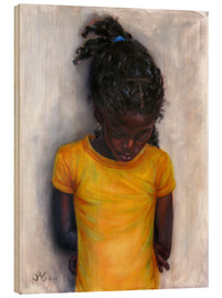 Wood print  lexa with yellow shirt - Jonathan Guy-Gladding