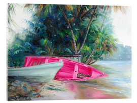 Acrylic print  pink boat on side - Jonathan Guy-Gladding