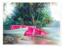 Premium poster pink boat on side