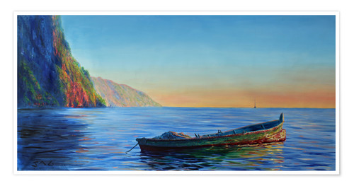 Premium poster base of petit piton with gommier boat