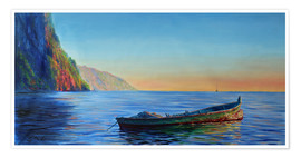 Premium poster  base of petit piton with gommier boat - Jonathan Guy-Gladding