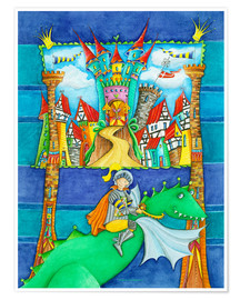 Premium poster  Knights Dragon and the Knight's Castle - Atelier BuntePunkt
