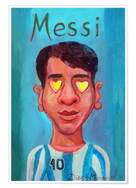 Premium poster  Messi and heart - Diego Manuel Rodriguez