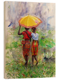 Wood print  yellow parasol - Jonathan Guy-Gladding