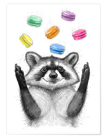Premium poster  Raccoon and cookies - Nikita Korenkov