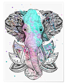 Premium poster Elephant in the lotus