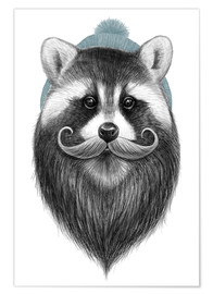 Premium poster  Bearded raccoon - Nikita Korenkov