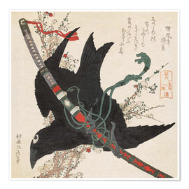 Premium poster  The little raven with the minamoto clan sword - Katsushika Hokusai