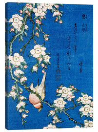 Canvas  Bullfinch and weeping cherry - Katsushika Hokusai