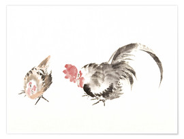 Premium poster Rooster and hen