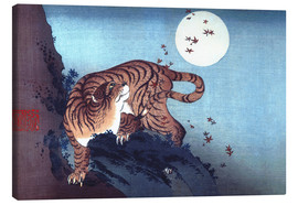 Canvas  The Tiger and the Moon - Katsushika Hokusai