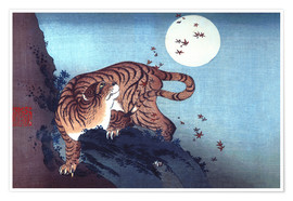Premium poster  The Tiger and the moon - Katsushika Hokusai