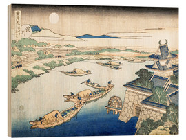 Wood print  Moonlight on the Yodo River - Katsushika Hokusai