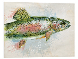 Foam board print  Splashing Rainbow Trout - Ashley Verkamp