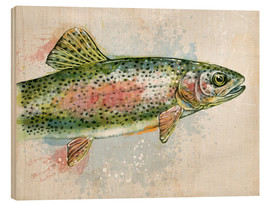 Wood print  Splashing Rainbow Trout - Ashley Verkamp