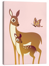 Canvas print  Mom And Baby Deer With Butterfly - Ashley Verkamp