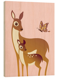 Wood print  Mom And Baby Deer With Butterfly - Ashley Verkamp