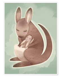 Premium poster  Mamma and baby kangaroo - Ashley Verkamp