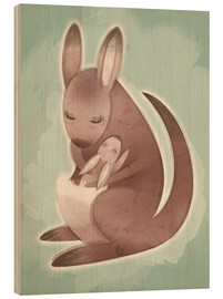 Wood print  Mamma and baby kangaroo - Ashley Verkamp