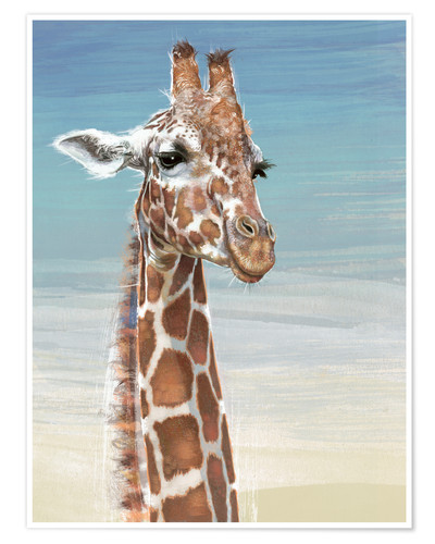 Premium poster Giraffe Against A Blue Sky