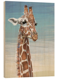 Wood print  Giraffe Against A Blue Sky - Ashley Verkamp