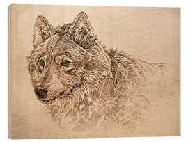 Wood print  The Gray Wolf - Ashley Verkamp