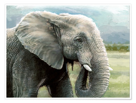Premium poster African Elephant In The Savanna Wilds
