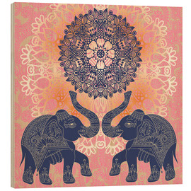 Wood print  Elephant love