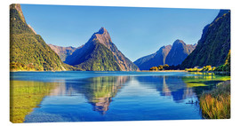 Canvas print  Milford Sound Mitre Peak Reflection New Zealand - Michael Rucker