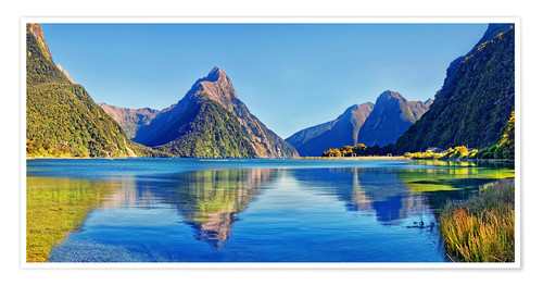 Premium poster Milford Sound Mitre Peak Reflection New Zealand