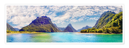 Premium poster Milford Sound Panorama New Zealand