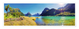 Premium poster  Milford Sound with palms New Zealand - Michael Rucker