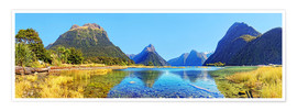 Premium poster New Zealand Milford Sound Panorama