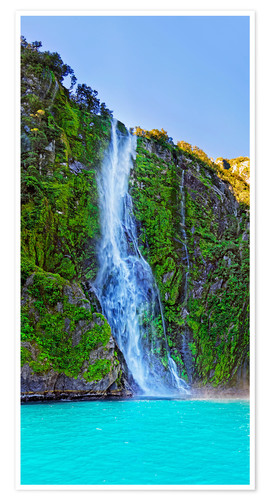 Premium poster New Zealand Milford Sound Stirling Falls