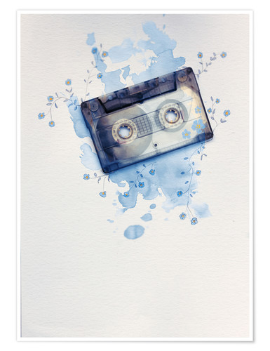 Premium poster Music tape with flowers and watercolour wash