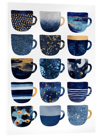 Acrylic glass  Pretty Blue Coffee Cups - Elisabeth Fredriksson