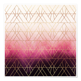 Premium poster  Pink Ombre Triangles - Elisabeth Fredriksson