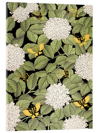 Acrylic glass  Japanese floral design - French School