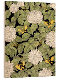 Wood print  Japanese floral design - French School